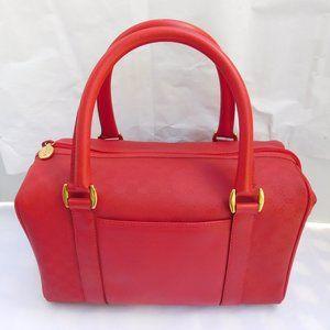 VINTAGE GUCCI RED CANVAS LEATHER TRIM BOSTON BAG